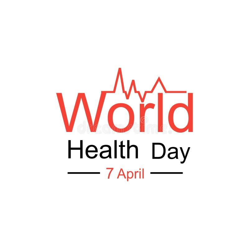 Έννοια σχεδίασης παγκόσμιας ημέρας υγείας φορέα 7 Απριλίου Καρδιά και καρδιογράφημα Πρότυπο για αφίσα, πανό, διαφήμιση, απαλοιφή  στοκ φωτογραφίες