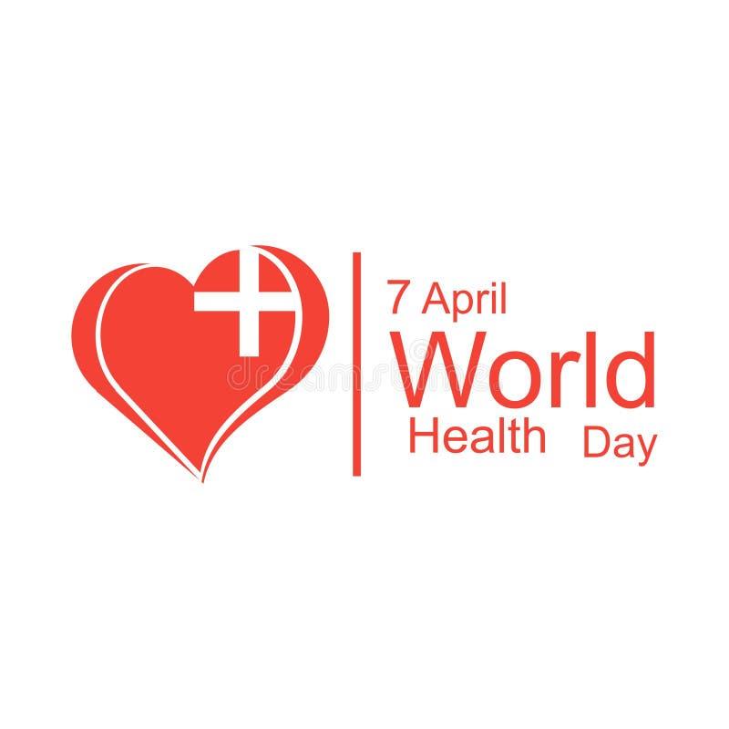 Έννοια σχεδίασης παγκόσμιας ημέρας υγείας φορέα 7 Απριλίου Καρδιά και καρδιογράφημα Πρότυπο για αφίσα, πανό, διαφήμιση, απαλοιφή  στοκ εικόνες
