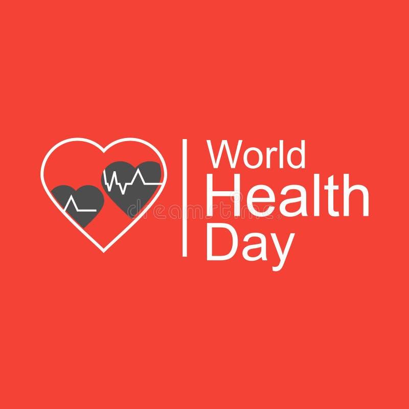 Έννοια σχεδίασης παγκόσμιας ημέρας υγείας φορέα 7 Απριλίου Καρδιά και καρδιογράφημα Πρότυπο για αφίσα, πανό, διαφήμιση, απαλοιφή  στοκ εικόνα με δικαίωμα ελεύθερης χρήσης