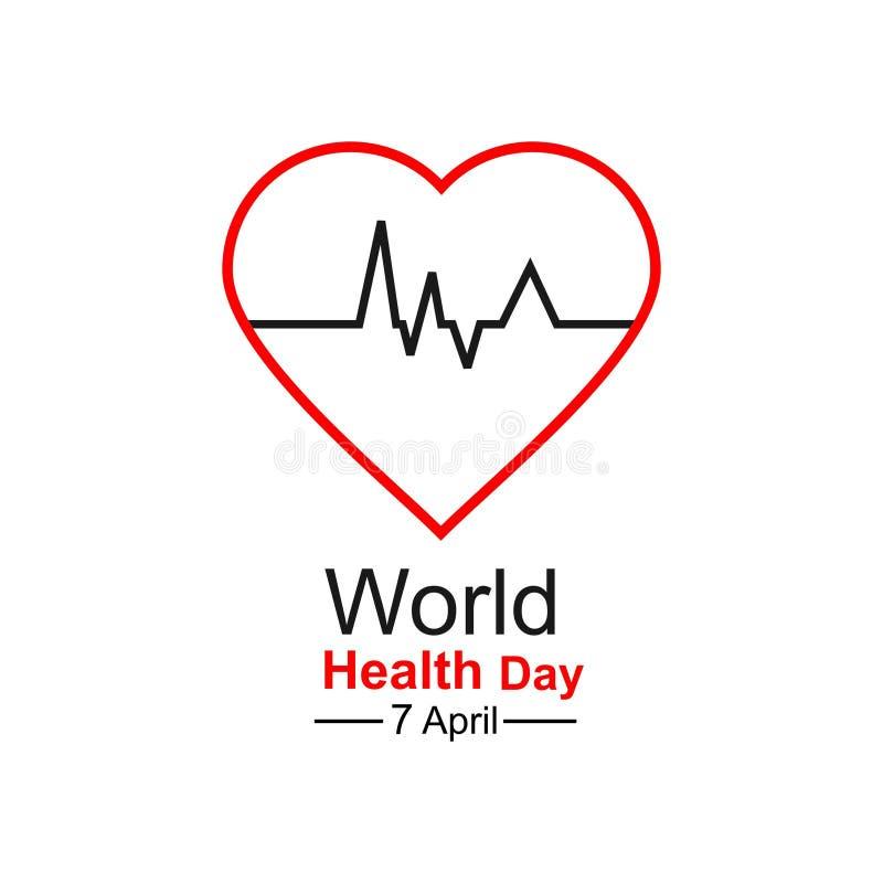 Έννοια σχεδίασης παγκόσμιας ημέρας υγείας φορέα 7 Απριλίου Καρδιά και καρδιογράφημα Πρότυπο για αφίσα, πανό, διαφήμιση, απαλοιφή  στοκ φωτογραφία με δικαίωμα ελεύθερης χρήσης