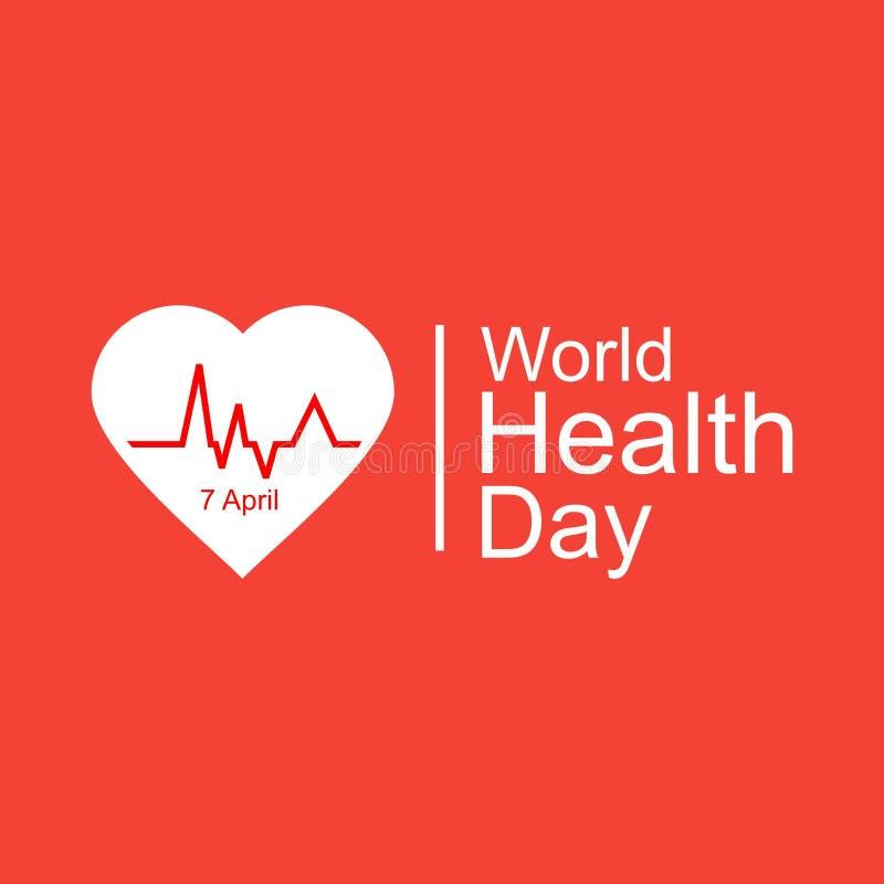 Έννοια σχεδίασης παγκόσμιας ημέρας υγείας φορέα 7 Απριλίου Καρδιά και καρδιογράφημα Πρότυπο για αφίσα, πανό, διαφήμιση, απαλοιφή  στοκ εικόνες με δικαίωμα ελεύθερης χρήσης