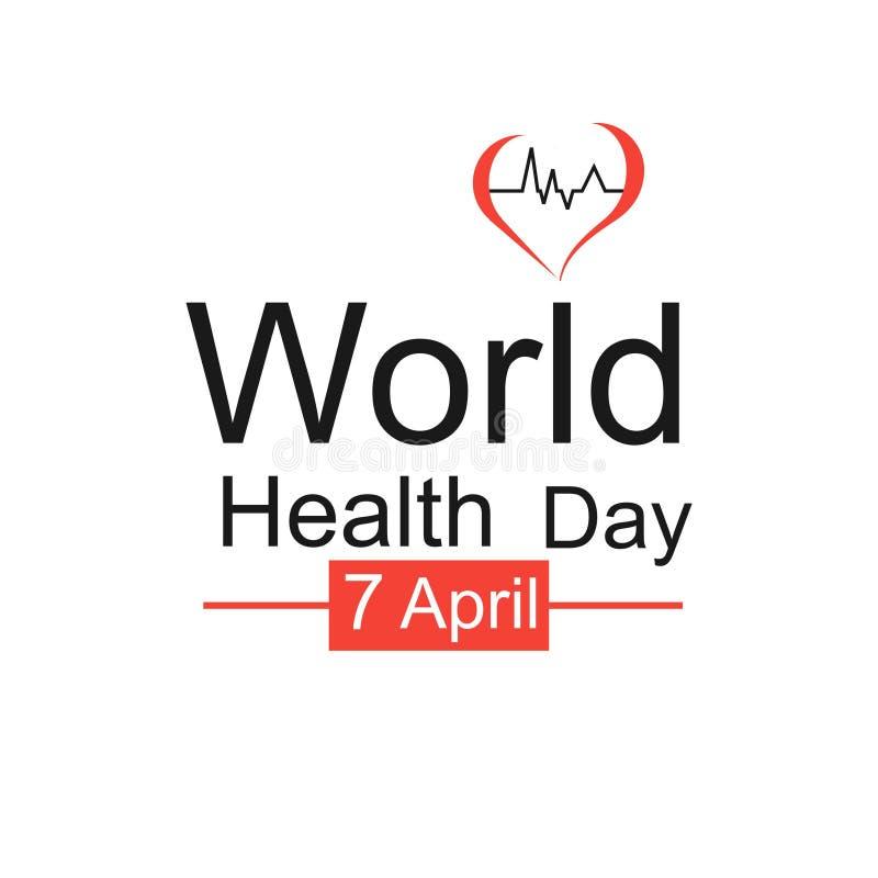 Έννοια σχεδίασης παγκόσμιας ημέρας υγείας φορέα 7 Απριλίου Καρδιά και καρδιογράφημα Πρότυπο για αφίσα, πανό, διαφήμιση, απαλοιφή  στοκ φωτογραφία