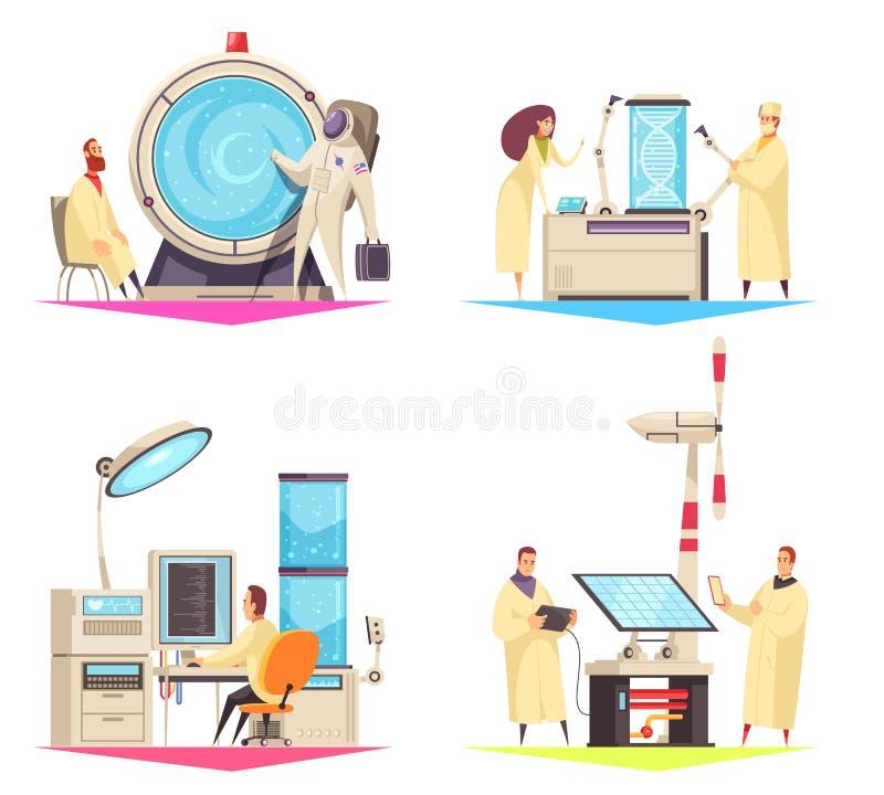 Έννοια σχεδίου επιστήμης 2x2 διανυσματική απεικόνιση