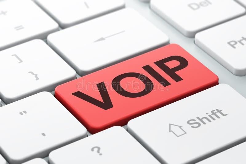 Έννοια σχεδίου Ιστού: VOIP στο υπόβαθρο πληκτρολογίων υπολογιστών ελεύθερη απεικόνιση δικαιώματος