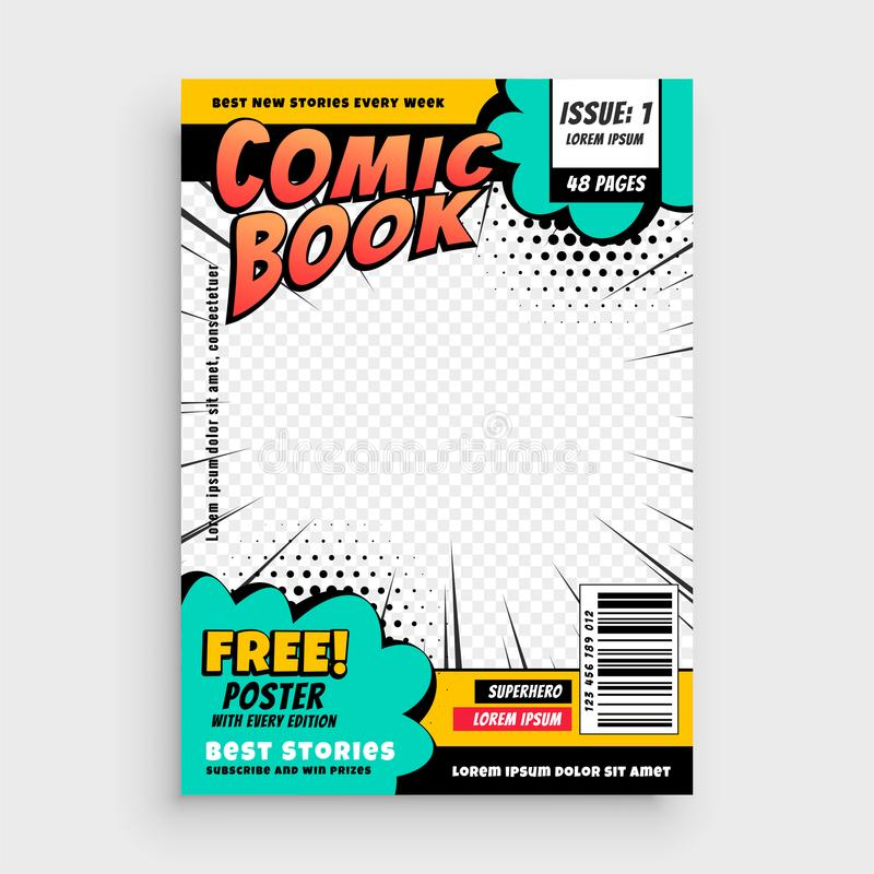 Έννοια σχεδίου κάλυψης σελίδων κόμικς διανυσματική απεικόνιση