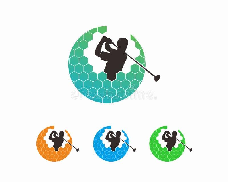 Έννοια σχεδίου λογότυπων γκολφ, πρότυπο λογότυπων αθλητικών πρωταθλημάτων διανυσματική απεικόνιση