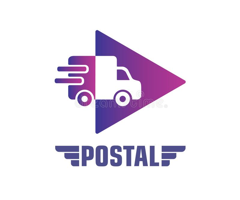 Έννοια σχεδίου λογότυπων επιχείρησης ταχυδρομικής υπηρεσίας απεικόνιση αποθεμάτων