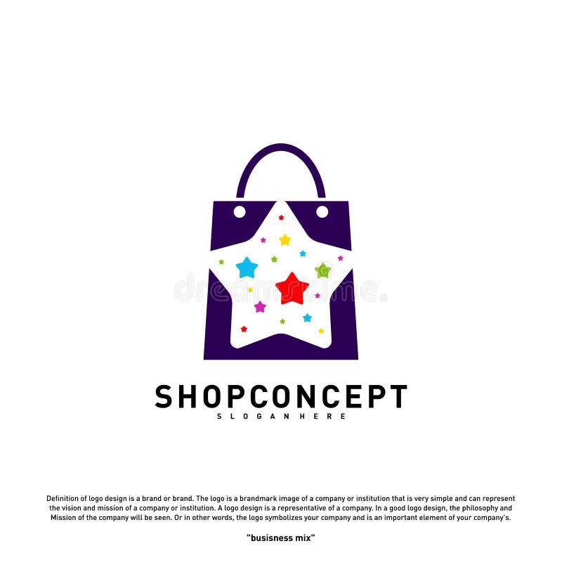 Έννοια σχεδίου λογότυπων καταστημάτων αστεριών Διάνυσμα λογότυπων εμπορικών κέντρων Κατάστημα και σύμβολο δώρων διανυσματική απεικόνιση
