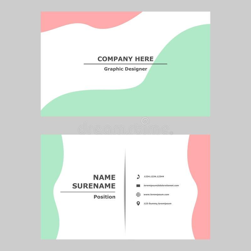 Έννοια σχεδίου προτύπων επαγγελματικών καρτών Απεικόνιση της διανυσματικής γραφικής κάρτας σύγχρονο, απλό και καθαρό σχέδιο ύφους απεικόνιση αποθεμάτων