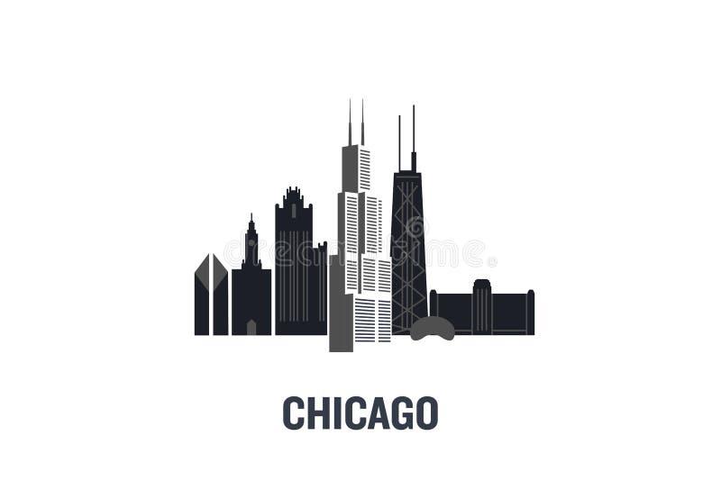 Έννοια σχεδίου τέχνης του Σικάγου διανυσματική απεικόνιση