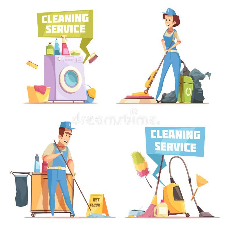 Έννοια σχεδίου υπηρεσιών καθαρισμού 2x2 διανυσματική απεικόνιση