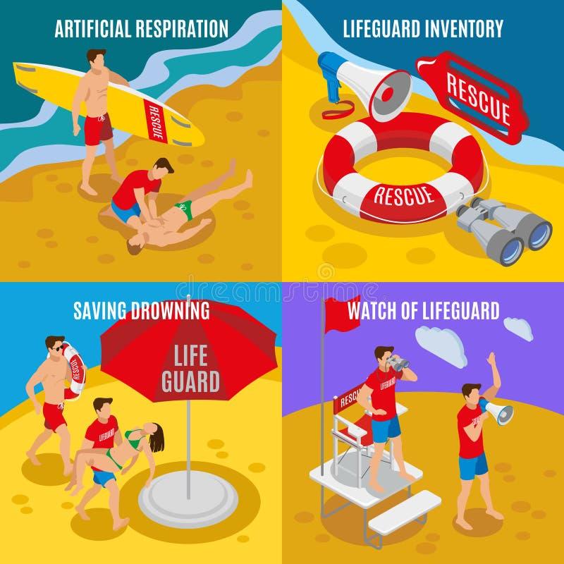 Έννοια σχεδίου Lifeguards παραλιών 2x2 ελεύθερη απεικόνιση δικαιώματος