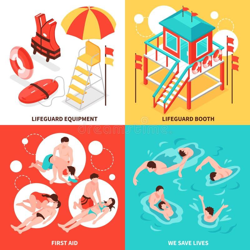 Έννοια σχεδίου Lifeguards παραλιών 2x2 απεικόνιση αποθεμάτων