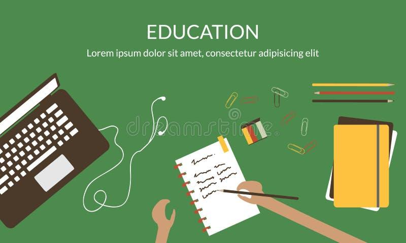 Έννοια σχεδίου για τη μελέτη, την εκμάθηση, την απόσταση και τη σε απευθείας σύνδεση εκπαίδευση απεικόνιση αποθεμάτων
