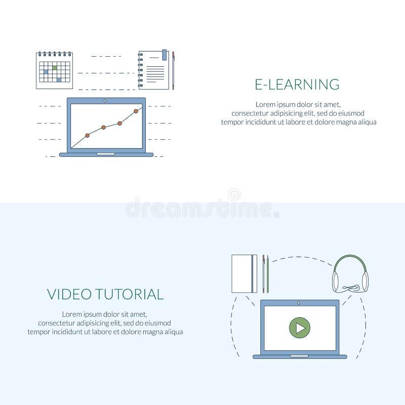 Έννοια σχεδίου για τη μελέτη, την εκμάθηση, την απόσταση και τη σε απευθείας σύνδεση εκπαίδευση, τηλεοπτικά σεμινάρια Επίπεδα εμβ απεικόνιση αποθεμάτων