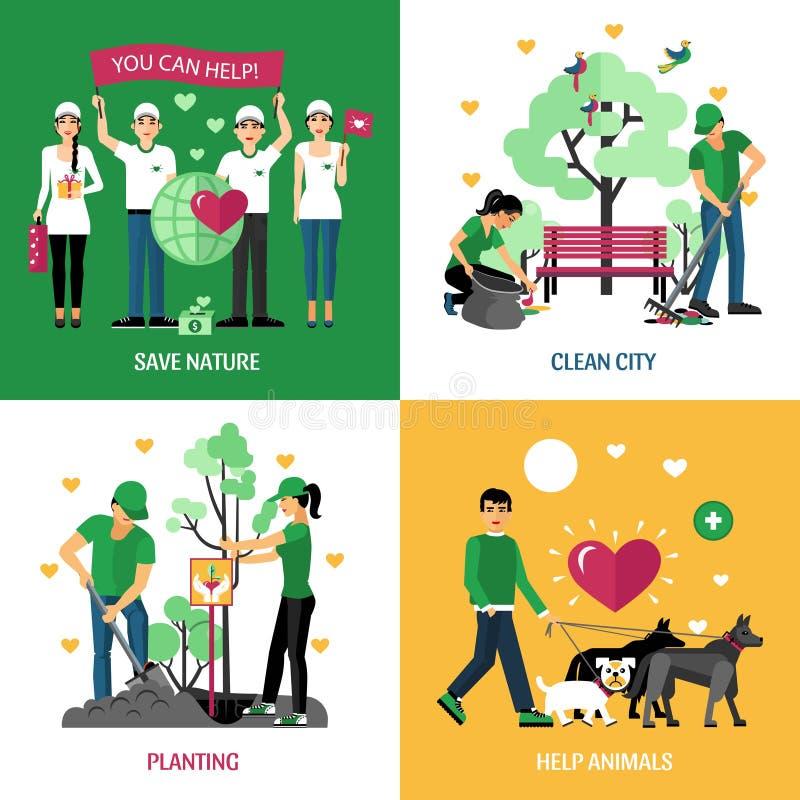 Έννοια σχεδίου εθελοντών 2x2 απεικόνιση αποθεμάτων