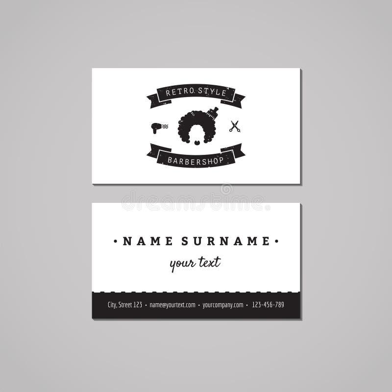 Έννοια σχεδίου επαγγελματικών καρτών Barbershop Λογότυπο Barbershop με τη γυναίκα afro hairstyle Τρύγος, hipster και αναδρομικό ύ απεικόνιση αποθεμάτων