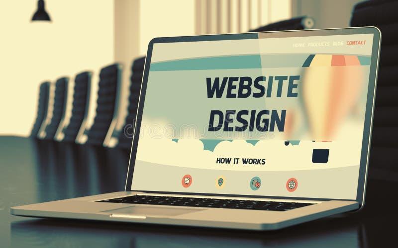 Έννοια σχεδίου ιστοχώρου στην οθόνη lap-top τρισδιάστατη απεικόνιση στοκ φωτογραφία με δικαίωμα ελεύθερης χρήσης