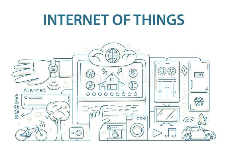 Έννοια σχεδίου ύφους Doodle Διαδικτύου της τεχνολογίας στοιχείων πραγμάτων, υποδομή δικτύου της σύνδεσης όλων ελεύθερη απεικόνιση δικαιώματος