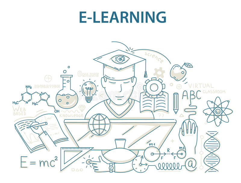 Έννοια σχεδίου ύφους Doodle της ε-εκμάθησης και της σε απευθείας σύνδεση εκπαίδευσης διανυσματική απεικόνιση