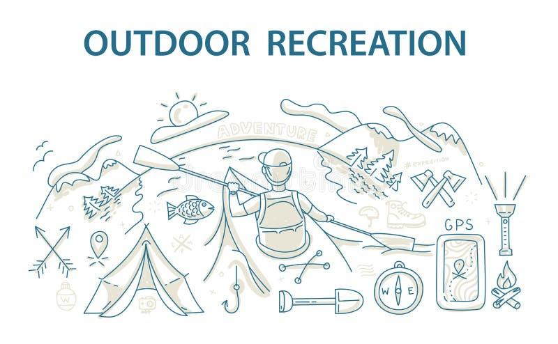 Έννοια σχεδίου ύφους Doodle της υπαίθριων αναψυχής και του ταξιδιού απεικόνιση αποθεμάτων