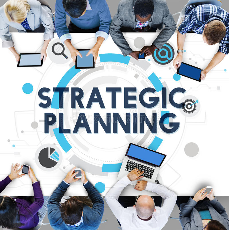 Έννοια σχεδίων δράσης διαδικασίας στρατηγικού προγραμματισμού στοκ εικόνες