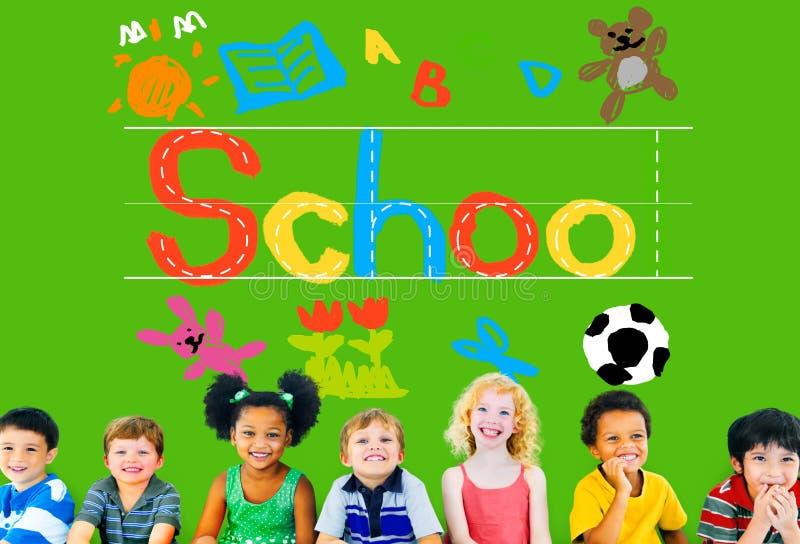 Έννοια σχολικής εκμάθησης γραφής φαντασίας παιδιών στοκ εικόνα με δικαίωμα ελεύθερης χρήσης
