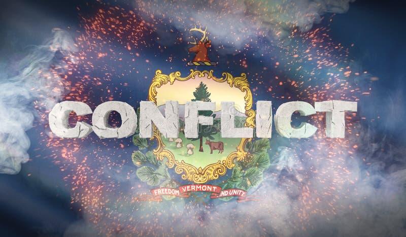 Έννοια σύγκρουσης Κράτος της σημαίας του Βερμόντ κράτη σημαιών ΗΠΑ τρισδιάστατη απεικόνιση ελεύθερη απεικόνιση δικαιώματος