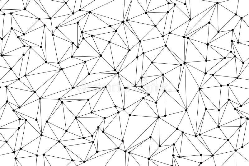 Έννοια σύνδεσης δικτύων Μόρια τεχνολογίας με τα πολύγωνα στο άσπρο υπόβαθρο Συνδέσεις παγκόσμιων δικτύων με τα σημεία και τις γρα απεικόνιση αποθεμάτων