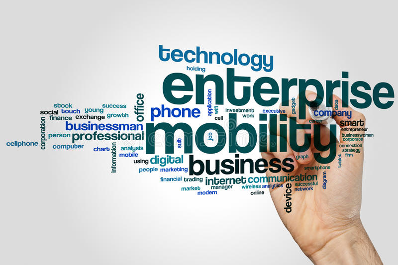 Έννοια σύννεφων λέξης επιχειρηματικής κινητικότητας στο γκρίζο υπόβαθρο στοκ εικόνες με δικαίωμα ελεύθερης χρήσης