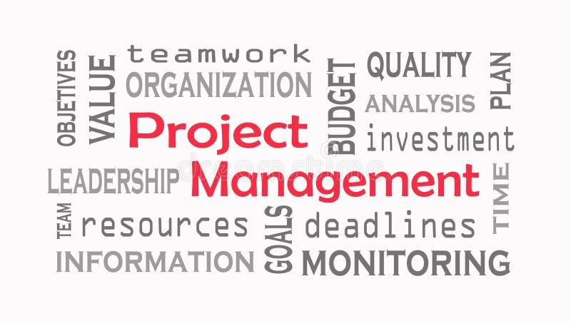 Έννοια σύννεφων λέξης διαχείρισης του προγράμματος στο άσπρο υπόβαθρο διανυσματική απεικόνιση