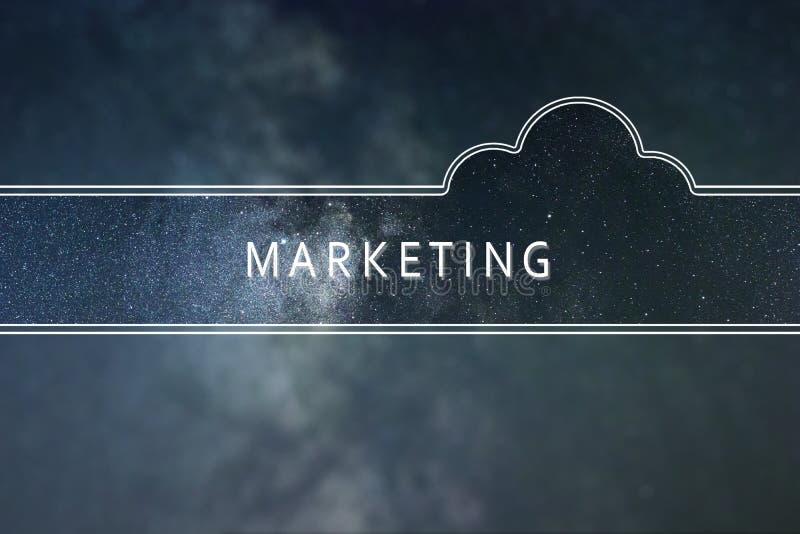 Έννοια σύννεφων λέξης μάρκετινγκ Διαστημικό υπόβαθρο απεικόνιση αποθεμάτων