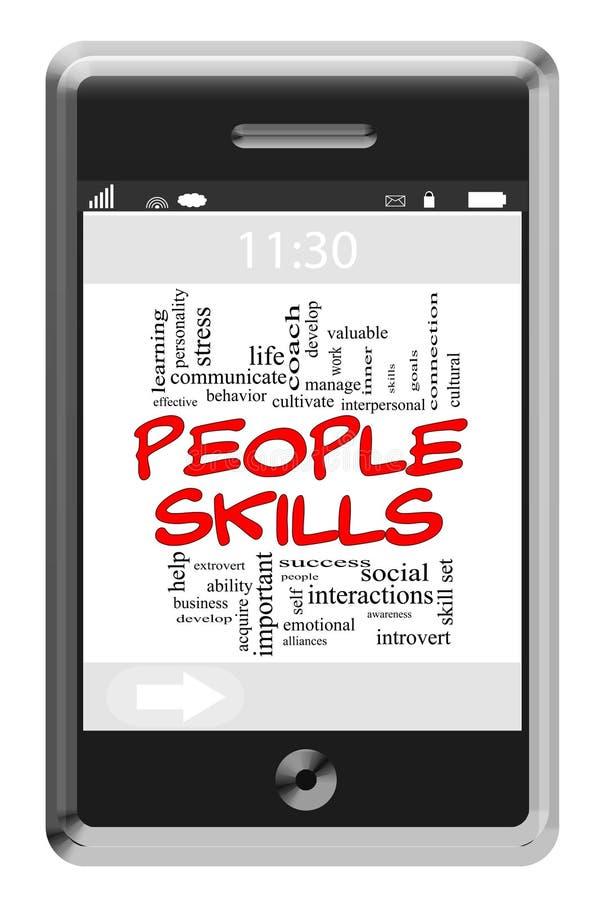 Έννοια σύννεφων του Word δεξιοτήτων ανθρώπων στο τηλέφωνο οθονών επαφής διανυσματική απεικόνιση