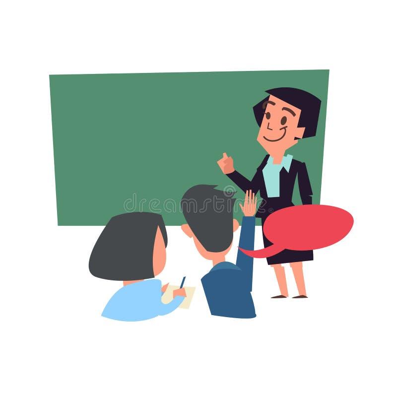 έννοια τάξεων διδασκαλία δασκάλων με τον πίνακα πίσω από το stude απεικόνιση αποθεμάτων
