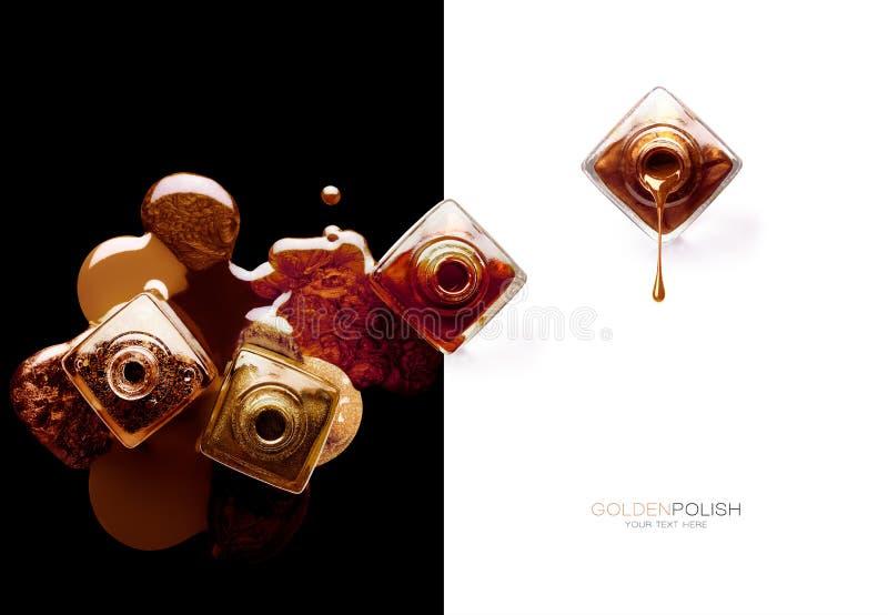 Έννοια τέχνης καρφιών με την υπερυψωμένη άποψη των πολλαπλάσιων μπουκαλιών στιλβωτικής ουσίας καρφιών Χρυσή μεταλλική λάκκα στοκ εικόνα