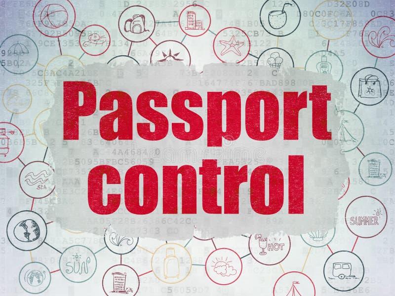 Έννοια ταξιδιού: Έλεγχος διαβατηρίων στο υπόβαθρο εγγράφου ψηφιακών στοιχείων ελεύθερη απεικόνιση δικαιώματος