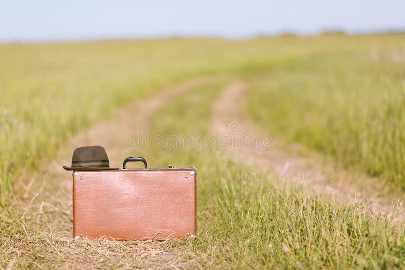 Έννοια ταξιδιού και περιπέτειας Εκλεκτής ποιότητας καφετιά βαλίτσα και καπέλο στο δρόμο στον πράσινο τομέα στοκ εικόνα με δικαίωμα ελεύθερης χρήσης