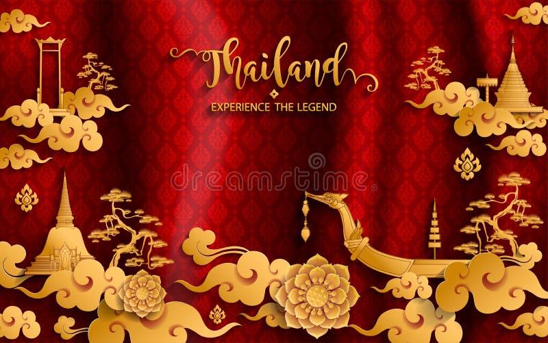 Έννοια ταξιδιού της Ταϊλάνδης οι περισσότερες όμορφες θέσεις ελεύθερη απεικόνιση δικαιώματος