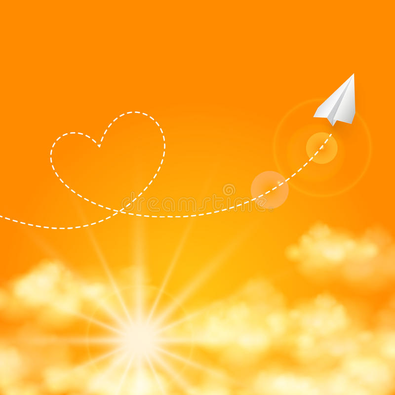 Έννοια ταξιδιού αγάπης ένα αεροπλάνο εγγράφου που πετά ελεύθερη απεικόνιση δικαιώματος
