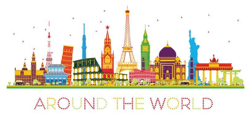 Έννοια ταξιδιού σε όλο τον κόσμο με το διάσημο διεθνές landma διανυσματική απεικόνιση