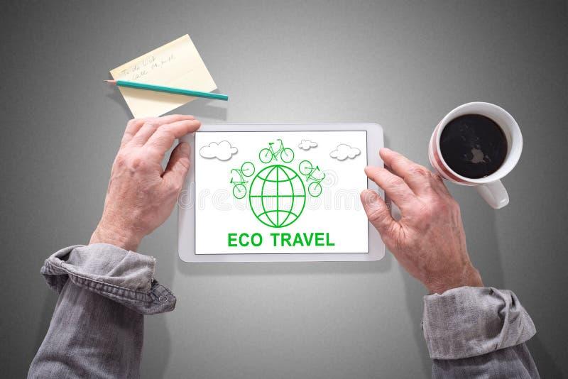 Έννοια ταξιδιού Eco σε μια ταμπλέτα στοκ φωτογραφία με δικαίωμα ελεύθερης χρήσης