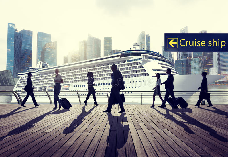 Έννοια ταξιδιών ταξιδιού κρουαζιερόπλοιων ταξιδιού επιχειρηματιών στοκ φωτογραφία
