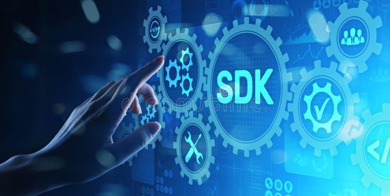 Έννοια τεχνολογίας γλώσσας προγραμματισμού εξαρτήσεων ανάπτυξης λογισμικού SDK στην εικονική οθόνη διανυσματική απεικόνιση
