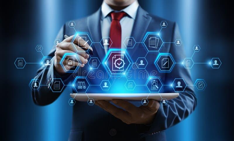 Έννοια τεχνολογίας επιχειρησιακού Διαδικτύου διοικητικών συστημάτων δεδομένων εγγράφων στοκ εικόνα