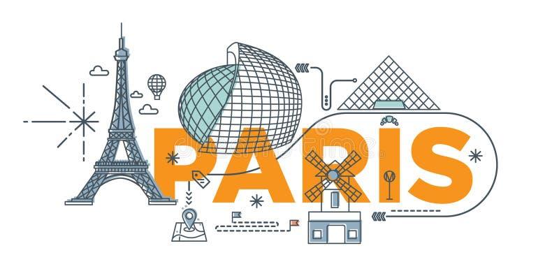Έννοια τεχνολογίας μαρκαρίσματος λέξης ` Παρίσι ` τυπογραφίας διανυσματική απεικόνιση