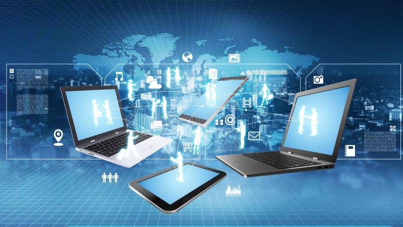 Έννοια τεχνολογίας πληροφοριών Διαδικτύου διανυσματική απεικόνιση