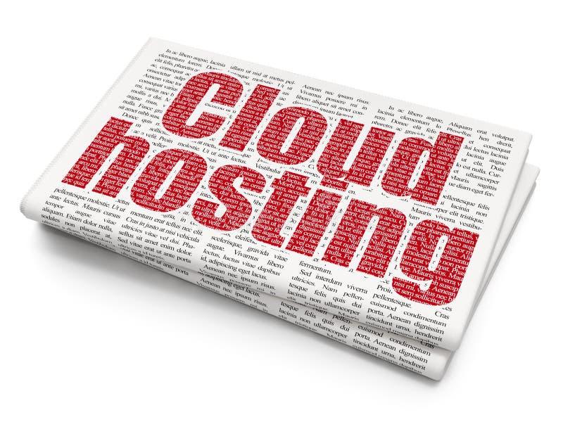 Έννοια τεχνολογίας σύννεφων: Φιλοξενία σύννεφων στο υπόβαθρο εφημερίδων ελεύθερη απεικόνιση δικαιώματος