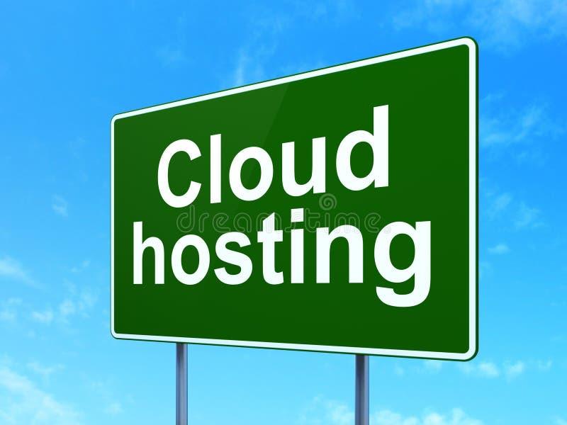 Έννοια τεχνολογίας σύννεφων: Φιλοξενία σύννεφων στο υπόβαθρο οδικών σημαδιών απεικόνιση αποθεμάτων