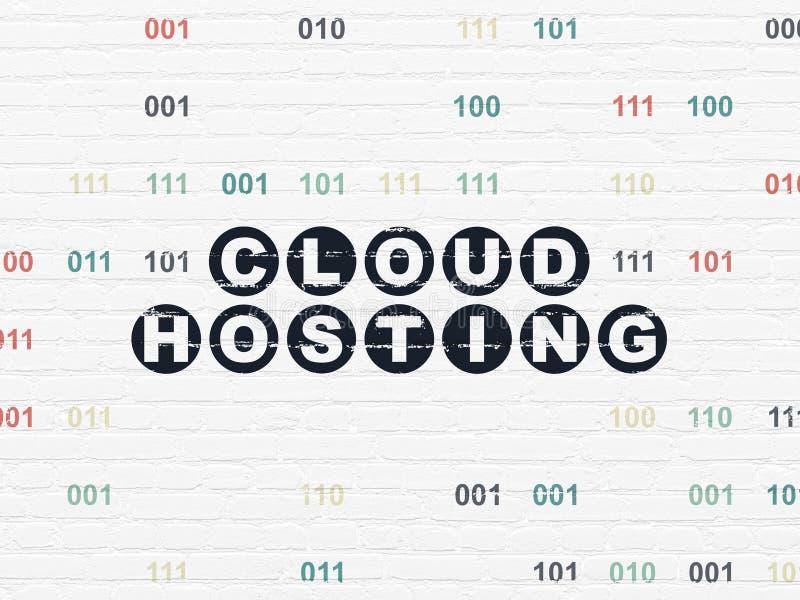 Έννοια τεχνολογίας σύννεφων: Φιλοξενία σύννεφων στο υπόβαθρο τοίχων απεικόνιση αποθεμάτων