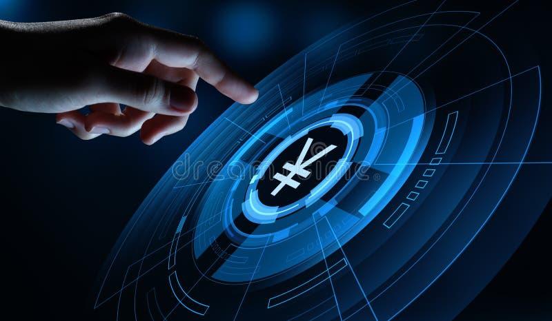 Έννοια τεχνολογίας χρηματοδότησης επιχειρησιακών τραπεζικών εργασιών νομίσματος γεν στοκ εικόνα με δικαίωμα ελεύθερης χρήσης